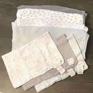 4 Burts Bees Blankets and 3 Burp Cloths!